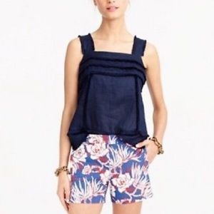 J. Crew linen tank top with fringe navy blue 16